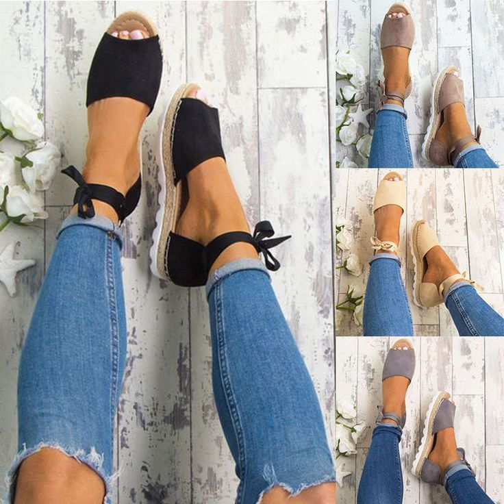 Women's Flat Comfy Espadrille Sandals Ladies Peep Toe Summer Flat Casual Shoes in Clothing, Shoes & Accessories, Women's Shoes, Flats & Oxfords | eBay