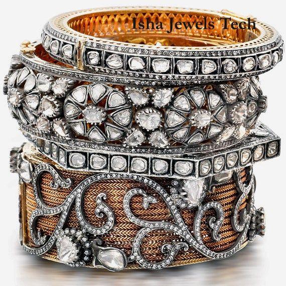 Victorian Polki Rose Cut Diamond Sterling Silver Designer Bangle Jewelry