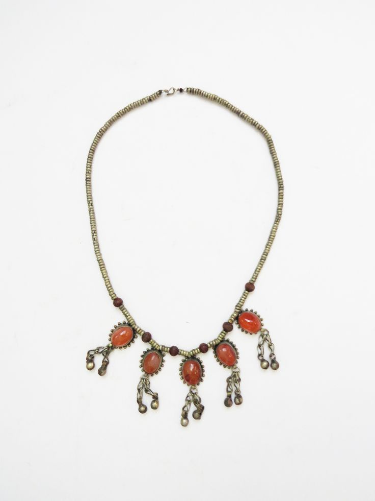 Bohemian Amber Necklace // Vintage 1960's Boho Jewelry