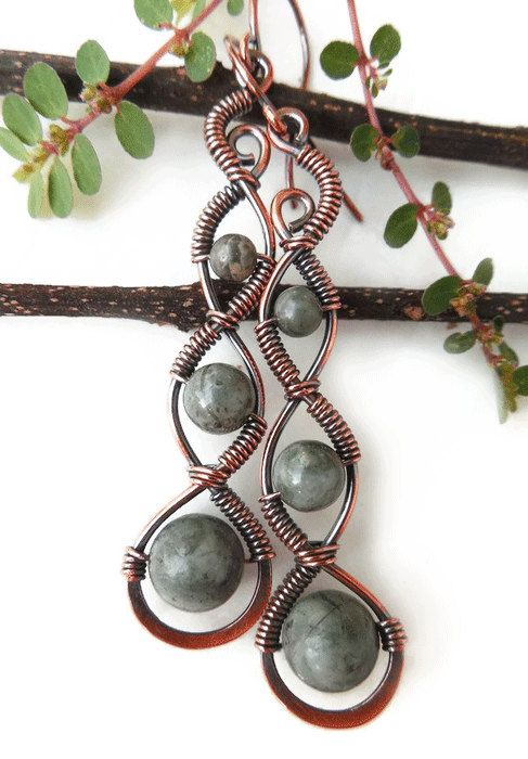 Handmade bohemian style earrings with Kambaba Jasper- wire wrapped- boho by Kissedbyclover https://www.etsy.com/listing/244940609/boho-earrings-kambaba-jasper-bohemian?ref=shop_home_active_9 #bohemian