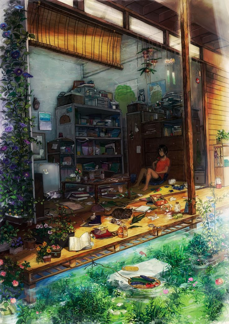#その外の水面を流れる野菜カゴ、室内の陰でスイカバーを食べる女性