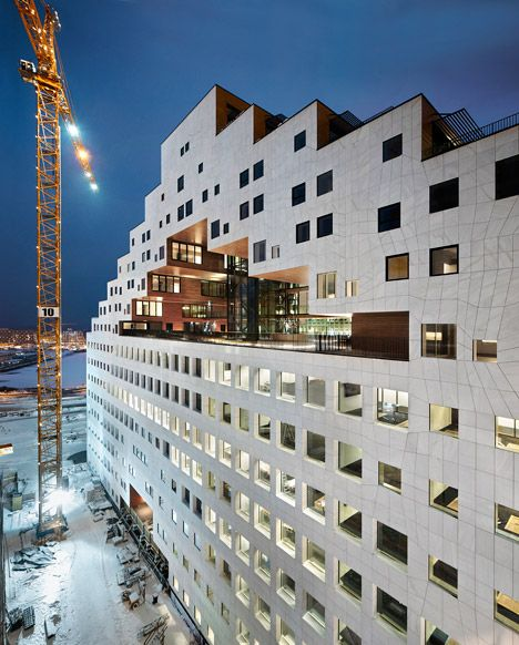 Norwegian architects add pixelated tower to Oslo's waterfront Barcode Project.