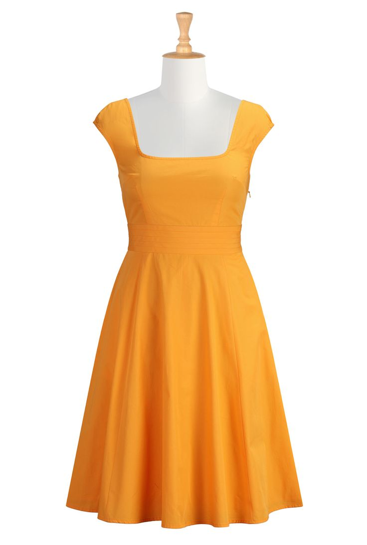 Marigold Cotton Poplin Dresses, Plus Size Fit-&-Flare Dresses Women's  designer clothing
