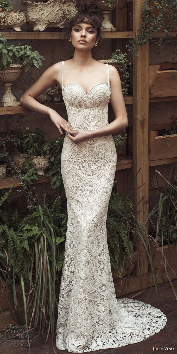 julie vino 2017 bridal spagetti strap sweetheart neckline full embellishment elegant romantic sheath wedding dress open low back short train (1254) mv -- Romanzo by Julie Vino 2017 Wedding Dresses