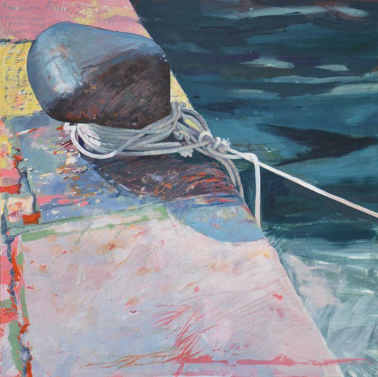oil on canvas-1250 x 1250-entangled ropes on bollard. Croatia