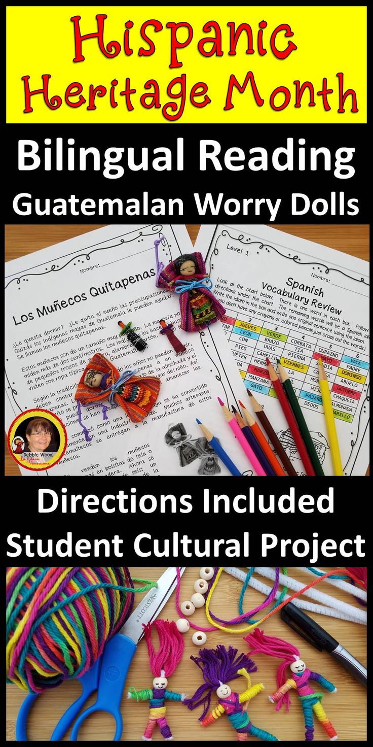 Great lesson for Hispanic Heritage Month in your Spanish language classroom.  Bilingual Reading and a variety of grammar and vocabulary exercises.  Directions are included for students to make their very own worry dolls.