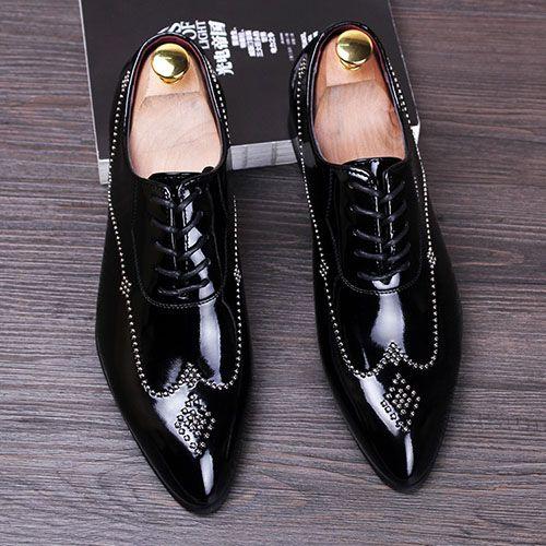 Novo 2016 homens sapatos rebites dedo apontado couro genuíno oxfords brogues dos homens italianos vestem sapatos sapatos de fundo vermelho tamanho 37-43