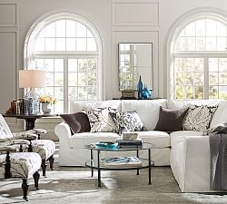 PB Comfort Roll Arm Slipcovered 3-Piece L-Shaped Sectional with Corner