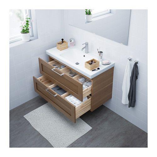 GODMORGON / ODENSVIK Kommod med 2 lådor - valnötsmönstrad - IKEA