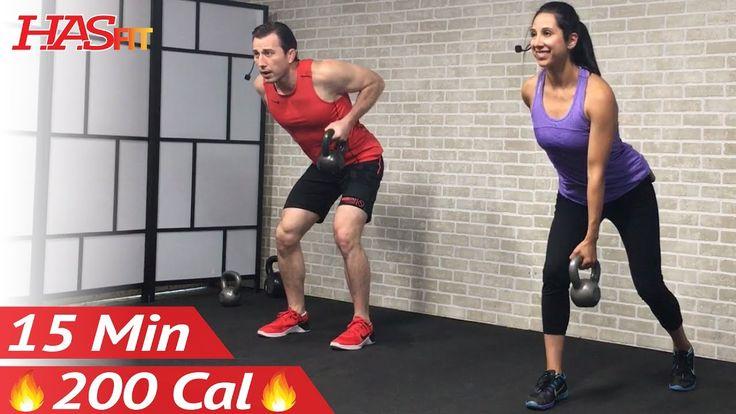15 Min Beginner Kettlebell Workout for Fat Loss - Kettlebell Workouts fo...