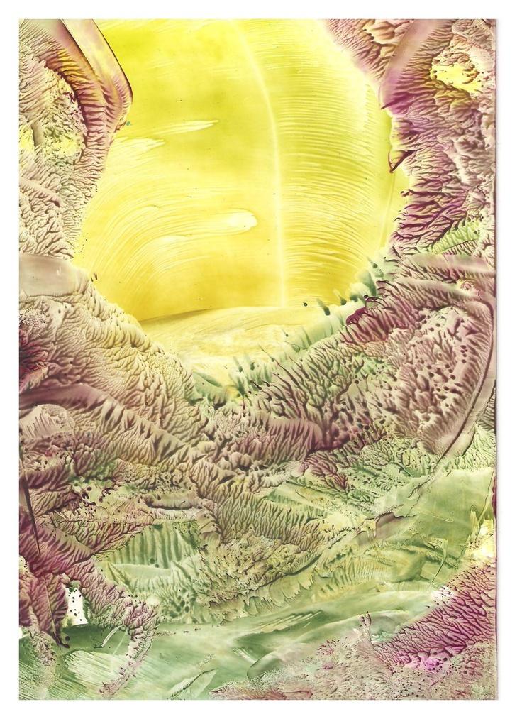 Encaustic art wax fantasy landscape painting.