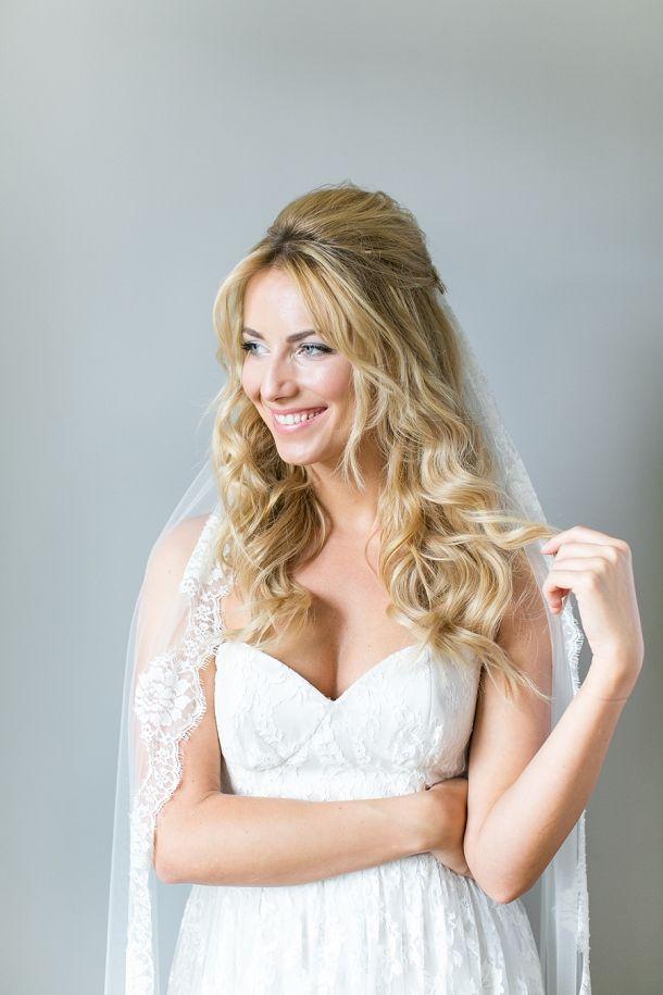 Half-up bridal hair with veil