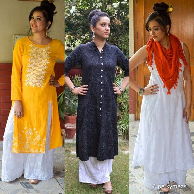Cotton white palazzos with long kurta. Take out all your whites, pastels and cottons this summer and palazzos are the best way to be chic and stylish and comfortable at the same time. New post up on blog on how to style Palazzos with long kurtas. Read for more.