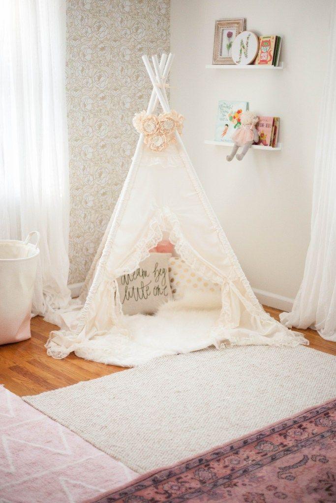 Layering rugs in a whimsical, bohemian nursery | Nursery decor | #WorldMarketMA #ad | Lauren McBride