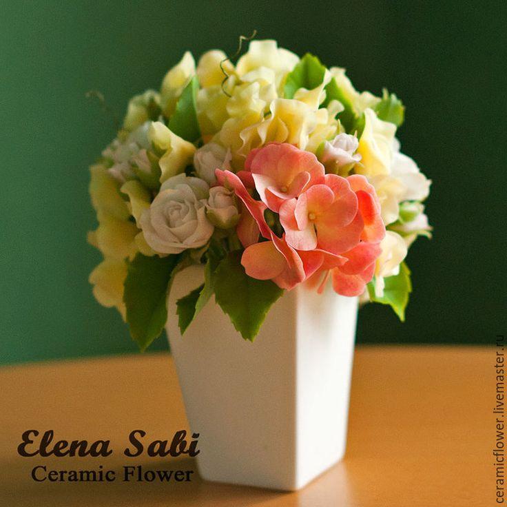 Купить Букет с душистым горошком - цветы, цветы букеты, красивые цветы, цветы из полимерной глины