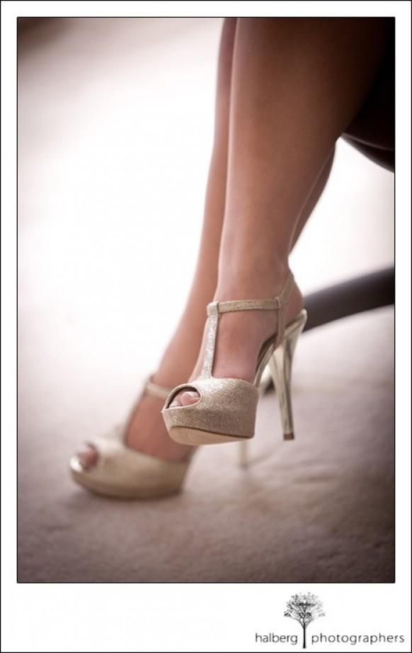 Gold Sparkly, Strappy Wedding Shoes