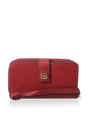 55% OFF LODIS Women's Saffiano Leather Tech Wallet, Cherry