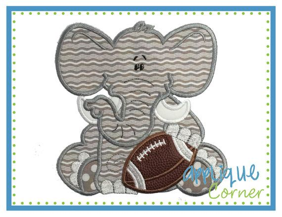 Elephant Baby Boy Football applique digital design for embroidery machine by Applique Corner    THIS DESIGN IS AVAILABLE FOR INSTANT