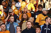Led Zeppelin singer Robert Plant supporting Wolverhampton Wanderers football team in Play off semi final against - Stock Photo