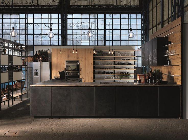 Factory | cucina con penisola by Aster Cucine, cucina con penisola senza maniglie design Lorenzo Granocchia, collezione Factory #kitchen #interiordesign #italiandesign