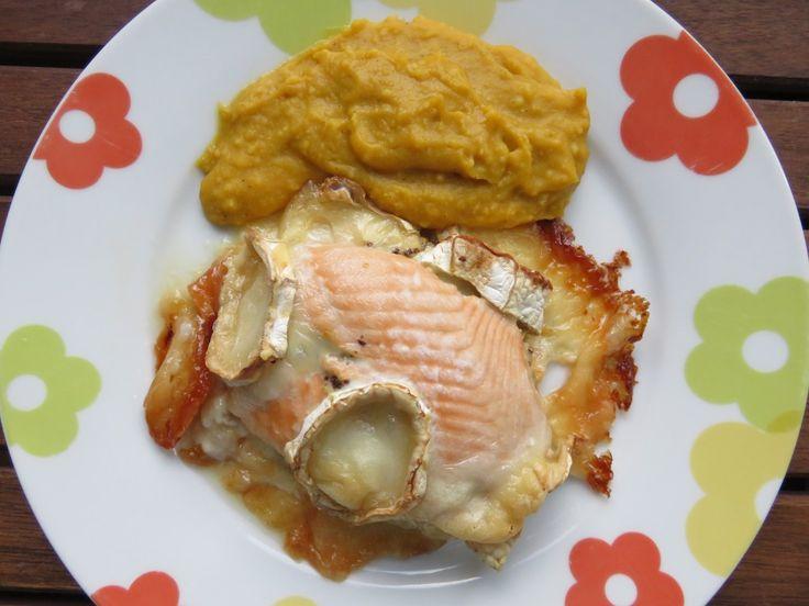 pavés de saumon au chèvre et à la moutarde