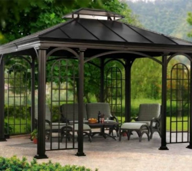 34 best images about pergolas on pinterest gardens outdoor living and meta - Pergola metal adossee ...