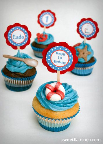 CUPCAKE TOPPERS - Sailboat Happy Birthday Party Decorations - Sailboat Cupcake Toppers in Blue and Red. $11.00, via Etsy.