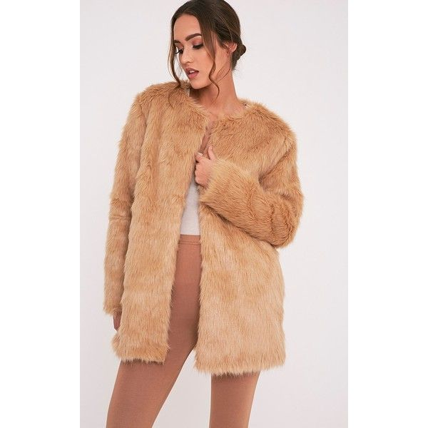 Florencia Tan Faux Fur Coat ($55) ❤ liked on Polyvore featuring outerwear, coats, brown, brown coat, imitation fur coats, brown faux fur coat, tan faux fur coat and red faux fur coat