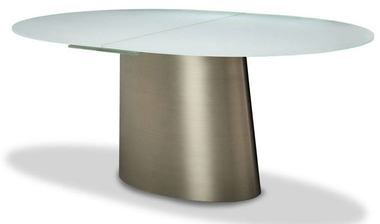 Modern Gold Metal Base Extendable Oval Glass Top Dining Table