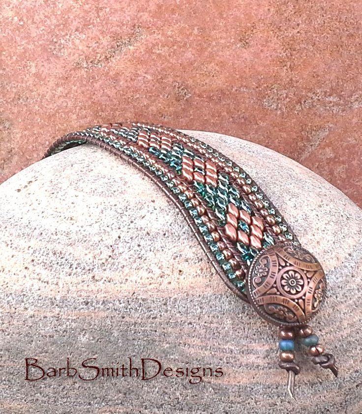 Rame blu turchese perline bracciale di cuoio di BarbSmithDesigns
