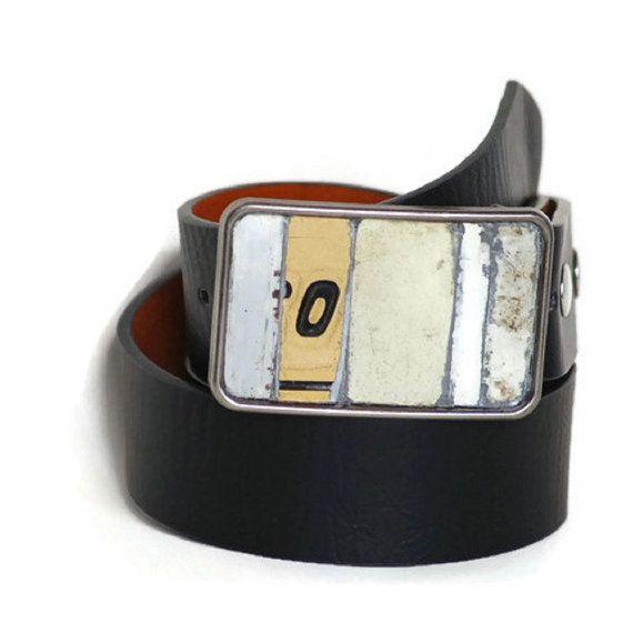 OTan Belt Buckle Mosaic Vintage License Plate Metal Neutrals Black White Industrial Urban Rustic