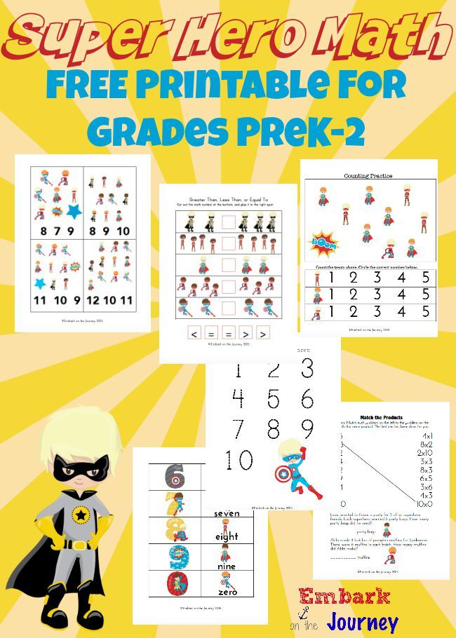 Free Super Hero Math Printable  Download a free Super Hero math printable for Pre-K through 2nd grade.