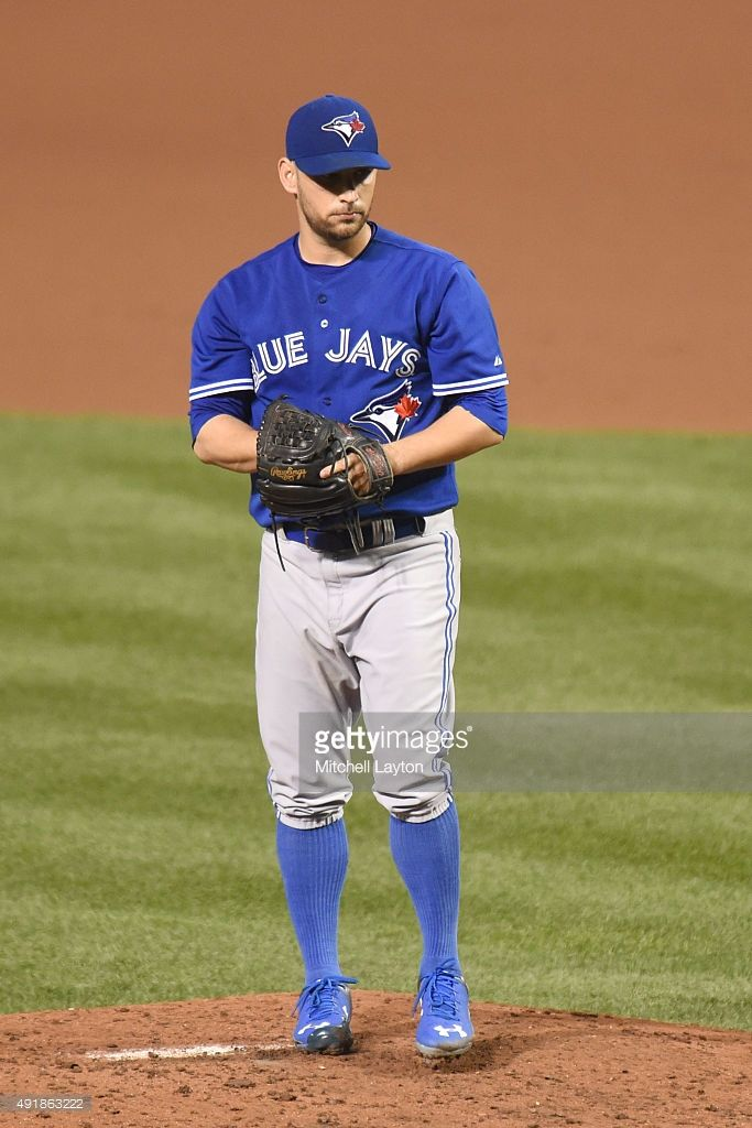 Marco Estrada #25 of the Toronto Blue Jays pitches during a baseball game against the Baltimore Orioles at Oriole Park at Camden Yards on September 28, 2015 in Baltimore, Maryland. The Blue Jays won 4-3.