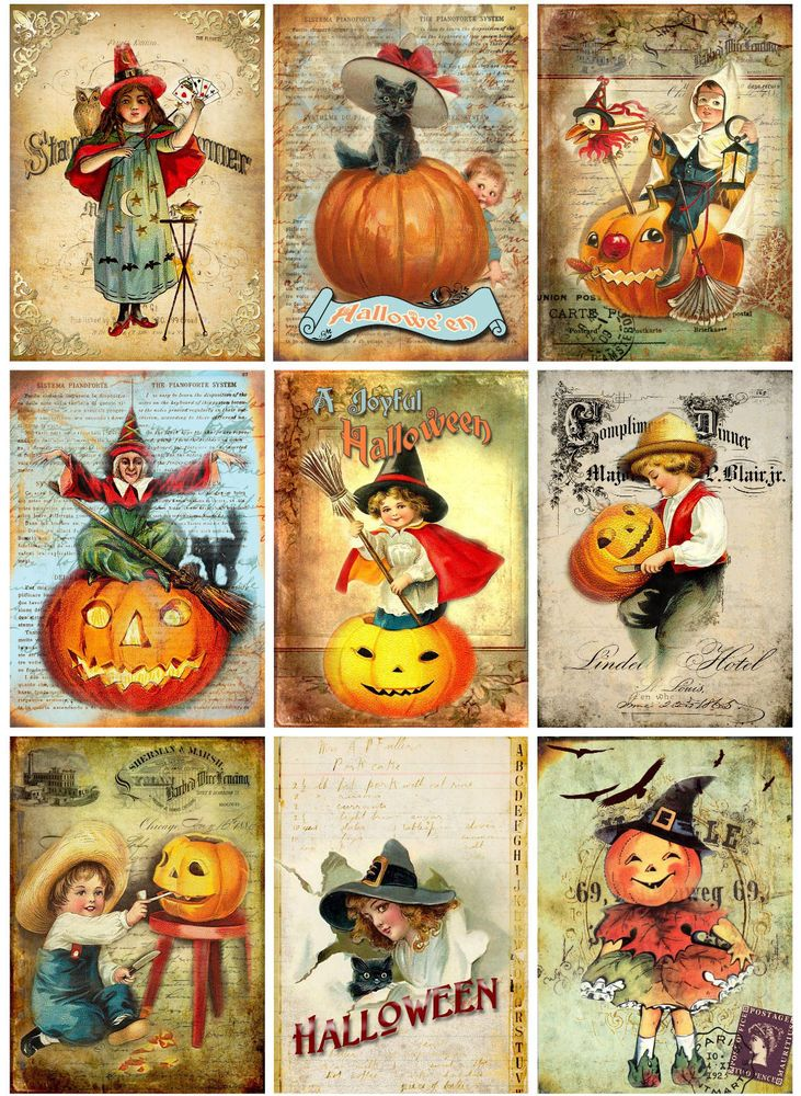 HALLOWEEN VINTAGE REPLICA (101) SCRAPBOOK CARD EMBELLISHMENTS HANG/GIFT TAGS #CROPPINROBIN72