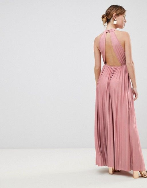 5085909af7e DESIGN Petite Exclusive Halter Waisted Pleated Maxi Dress in 2019 ...