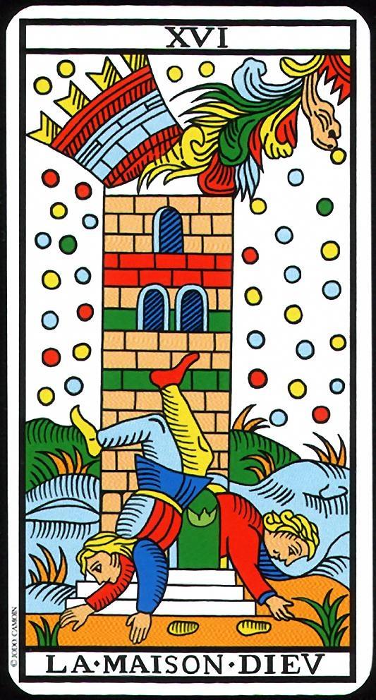 The Tower - XVI - Major Arcana   Tarot de Marseille (Camoin-Jodorowsky)