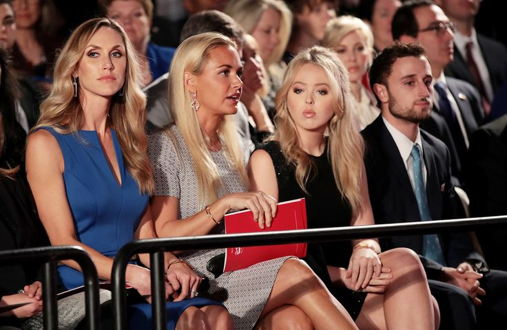 . ST LOUIS, MO - OCTOBER 09:  (L-R) Republican presidential nominee Donald Trump\'s daughters-in-law Lara Trump and Vanessa Trump and daughter Tiffany Trump during the town hall debate at Washington University on October 9, 2016 in St Louis, Missouri. This is the second of three presidential debates scheduled prior to the November 8th election.  (Photo by Scott Olson/Getty Images)