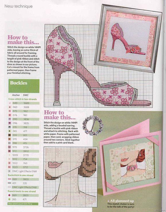 point de croix chaussure à talons rose pastel - cross stitch pink high heels shoes