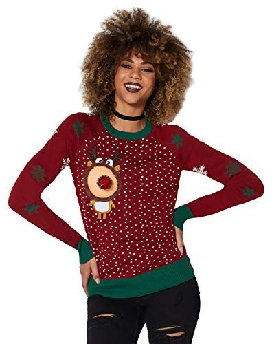 Peek A Boob Reindeer Ugly Christmas Sweater With Removable Cup