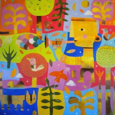 Mark  Warren  Jazz Notes - 2013   Acrylic on canvas   120 x 120 cm