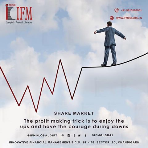 #Fresh #StockMarket #India : BSE SENSEX: 31596.06 🔼 28.05 (0.09%) NIFTY 50: 9897.15 🔼 40.10 (0.41%)  The #profit making trick is to enjoy the #ups and have the #courage during #downs!! #Trade in #ShareMarket with IFM.  #GIFT #IFM #FinancialLiteracy #FinancialAdvisor #Chandigarh