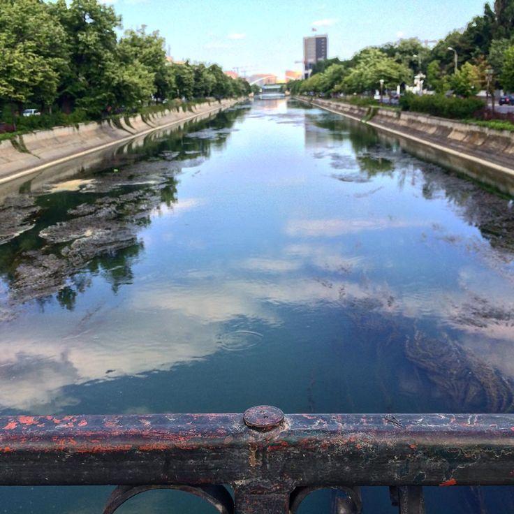 bridge over Dambovita River near Semanatoarea Park, Bucharest, Romania
