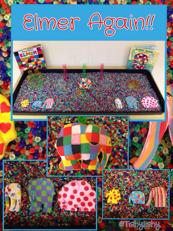Sensory tray - Elmer Again Link to pattern and colour in the creative area or maths area.