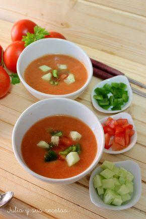 Gazpacho, fruta, tomate, Jullia y sus recetas, dieta mediterránea, receta de verano, sopa fria, primer plato, postre, bebida refrescante