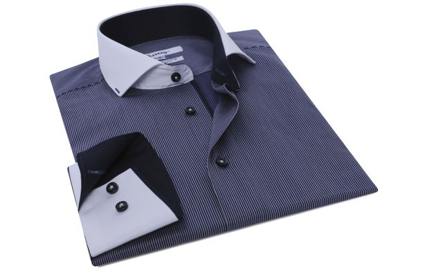 Chemise homme Financier navy à fines rayures col soho, Chemises cintrées - Chemise Homme
