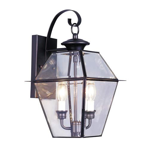 Westover Black Two Light Outdoor Fixture Livex Lighting Wall Mounted