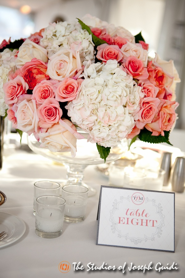 Coral and white centerpiece stunner peach
