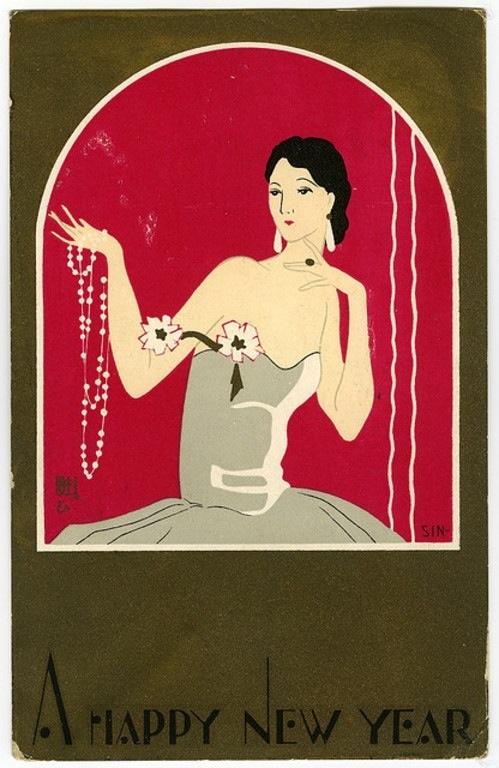 Happy New Year - Art Deco Vintage Card
