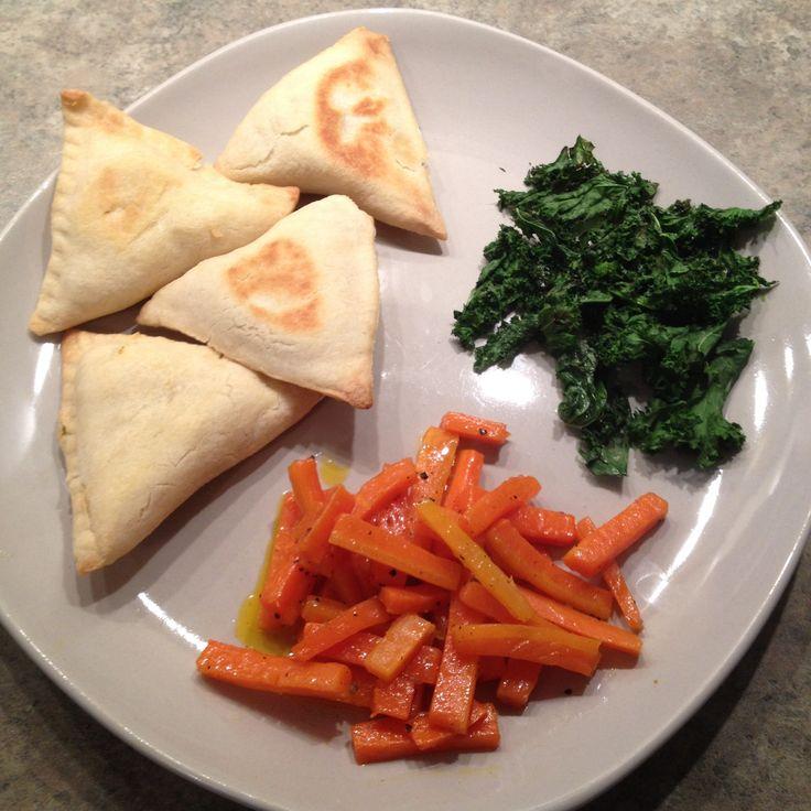 Samosas glazed carrots and kale chips food food photo