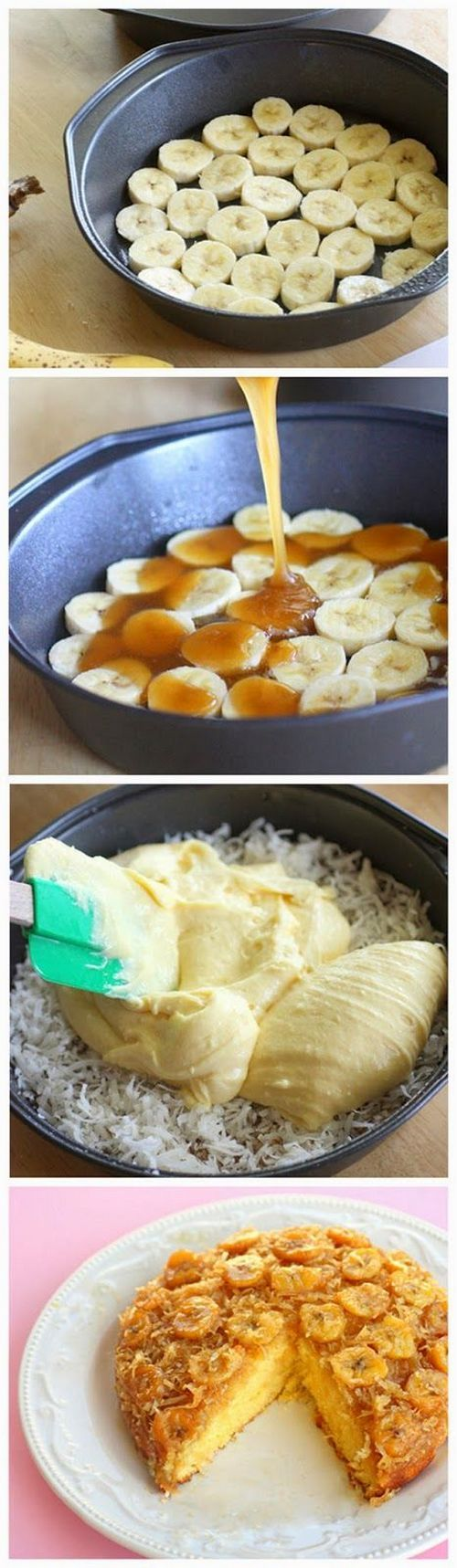 This easy to make Banana Coconut Upside Down Cake is ooey gooey and delicious. Make it for dessert or even brunch!
